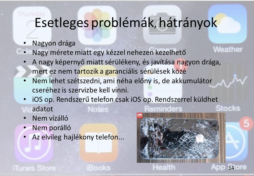 Esetleges problémák, hátrányok Nagyon drága Nagy mérete miatt egy kézzel nehezen kezelhető A nagy képernyő miatt sérülékeny, és javítása nagyon drága,