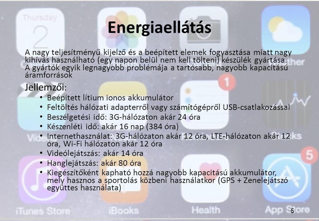 Energiaellátás A nagy teljesítményű kijelző és a beépített elemek fogyasztása miatt nagy kihívás használható (egy napon belül nem kell tölteni) készül