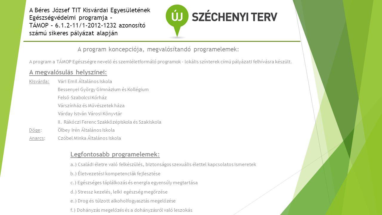 A Béres József TIT Kisvárdai Egyesületének Egészségvédelmi programja – TÁMOP – 6.1.2-11/1-2012-1232 azonosító számú sikeres pályázat alapján A projekt célja: Az egészséges életmód népszerűsítése, a megelőzésre irányuló módszerek és eszközök megismertetése, szemléletváltozás A program típusai: a.) előadások – 6 előadás, különböző témában ( várható létszám: 30-40 fő) b.) csoportfoglalkozás - 5 alkalom, az Arany János Tehetséggondozó Program résztvevői (20 fő) c.) egészségnap - 5 különböző helyszínen (Kisvárda 3, Döge 1, Anarcs 1) várható létszám: 60-80 fő A programba bevontak köre:  Tanulóifjúság – középiskolai korosztály, a felnőttoktatás résztvevői  Aktív foglalkoztatottak  Nyugdíjas korosztály  Az egyesület ( TIT) tagjai, civil szervezetek képviselői  Az egészségügyben, oktatásban tevékenykedő szakemberek  A város körzetében élő érdeklődők
