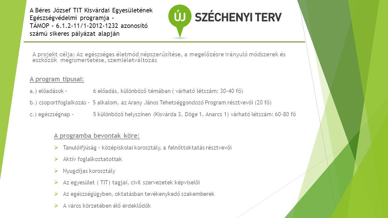 A Béres József TIT Kisvárdai Egyesületének Egészségvédelmi programja – TÁMOP – 6.1.2-11/1-2012-1232 azonosító számú sikeres pályázat alapján A projekt