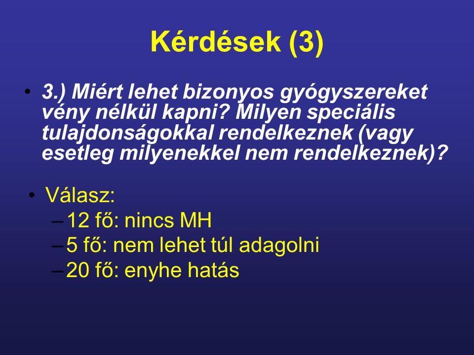 Kérdések (3) 3.) Miért lehet bizonyos gyógyszereket vény nélkül kapni.