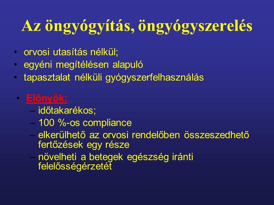 Konklúzió: Alapfogalmak rossz ismerete Nincs biztos tudás (könnyen elbizonytalaníthatóak) Nem képesek minden esetben pontos öndiagnózis felállítására (pl.: allergia) Gyógyszerész nem hagyhatja magára a beteget a döntésben.