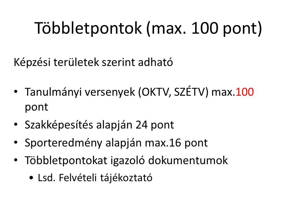 Többletpontok (max. 100 pont) Képzési területek szerint adható Tanulmányi versenyek (OKTV, SZÉTV) max.100 pont Szakképesítés alapján 24 pont Sportered