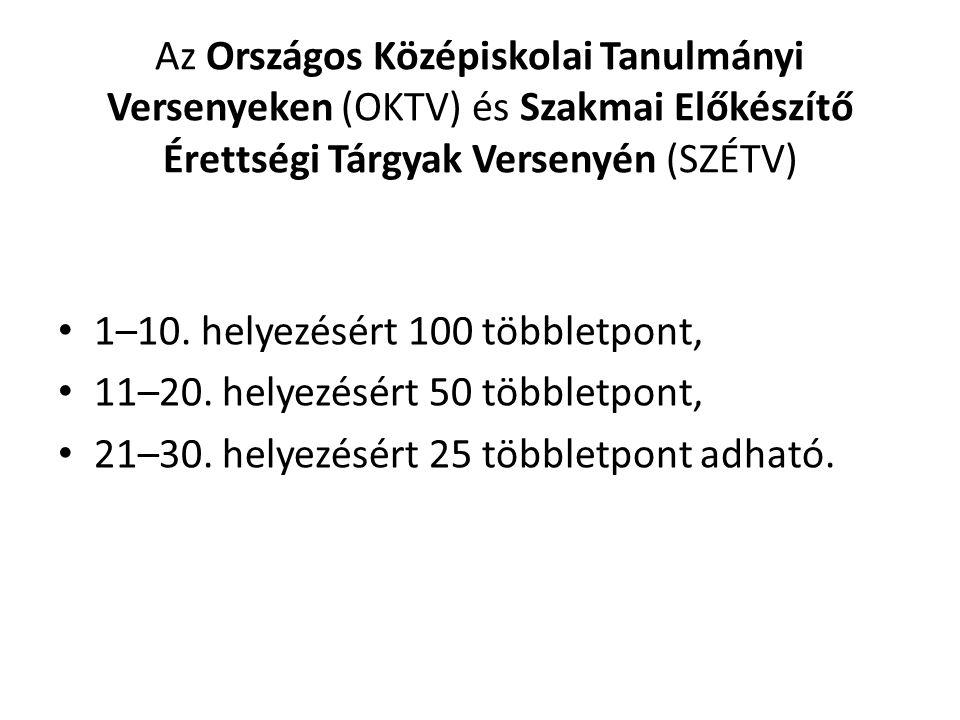 Az Országos Középiskolai Tanulmányi Versenyeken (OKTV) és Szakmai Előkészítő Érettségi Tárgyak Versenyén (SZÉTV) 1–10. helyezésért 100 többletpont, 11
