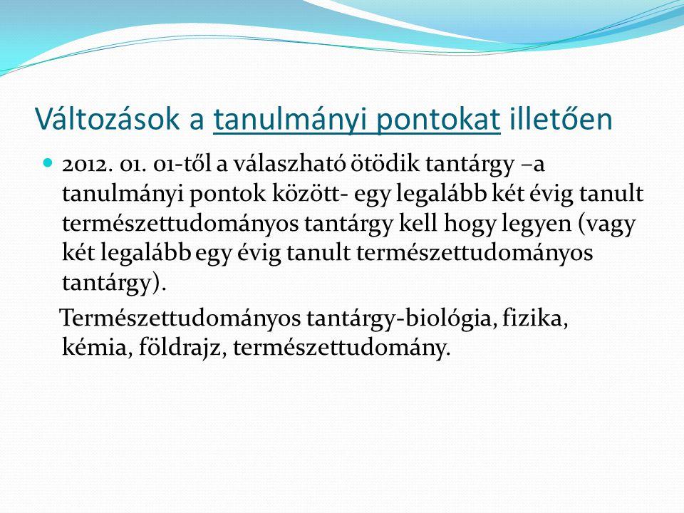 Változások a tanulmányi pontokat illetően 2012. 01. 01-től a válaszható ötödik tantárgy –a tanulmányi pontok között- egy legalább két évig tanult term