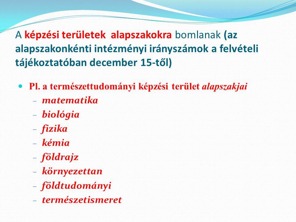 A képzési területek alapszakokra bomlanak (az alapszakonkénti intézményi irányszámok a felvételi tájékoztatóban december 15-től) Pl. a természettudomá