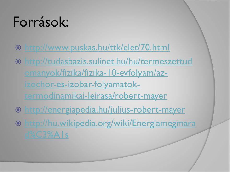 Források:  http://www.puskas.hu/ttk/elet/70.html http://www.puskas.hu/ttk/elet/70.html  http://tudasbazis.sulinet.hu/hu/termeszettud omanyok/fizika/
