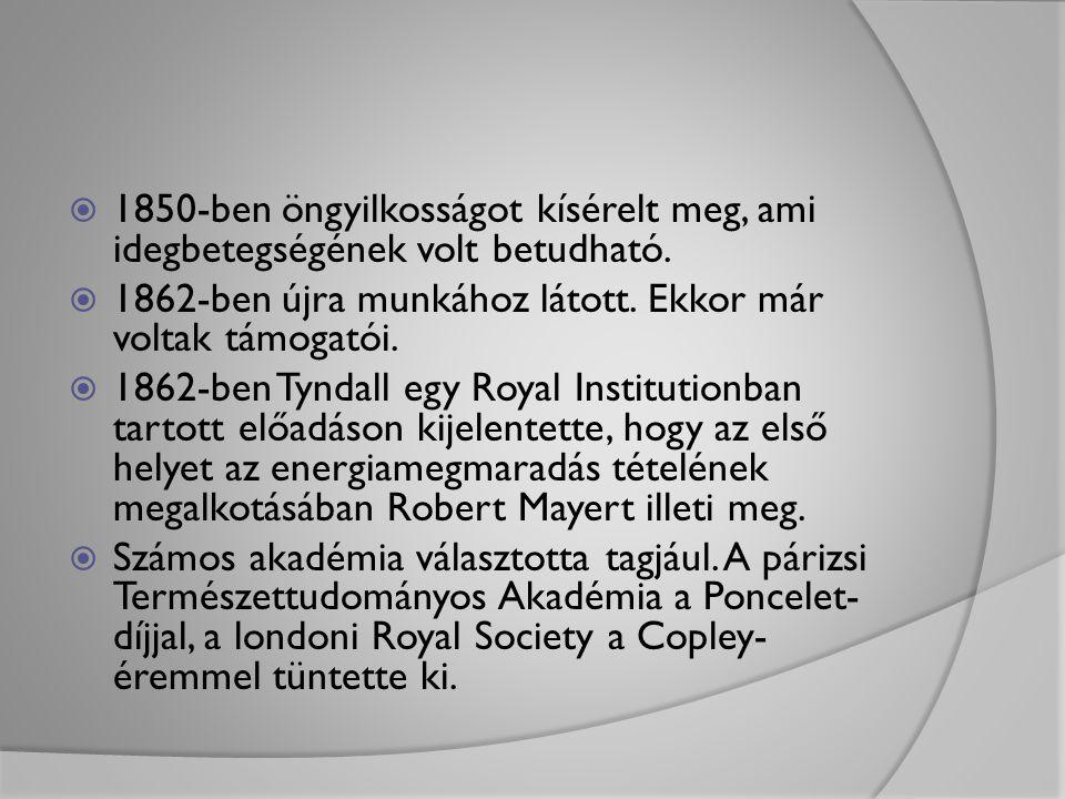  1850-ben öngyilkosságot kísérelt meg, ami idegbetegségének volt betudható.  1862-ben újra munkához látott. Ekkor már voltak támogatói.  1862-ben T