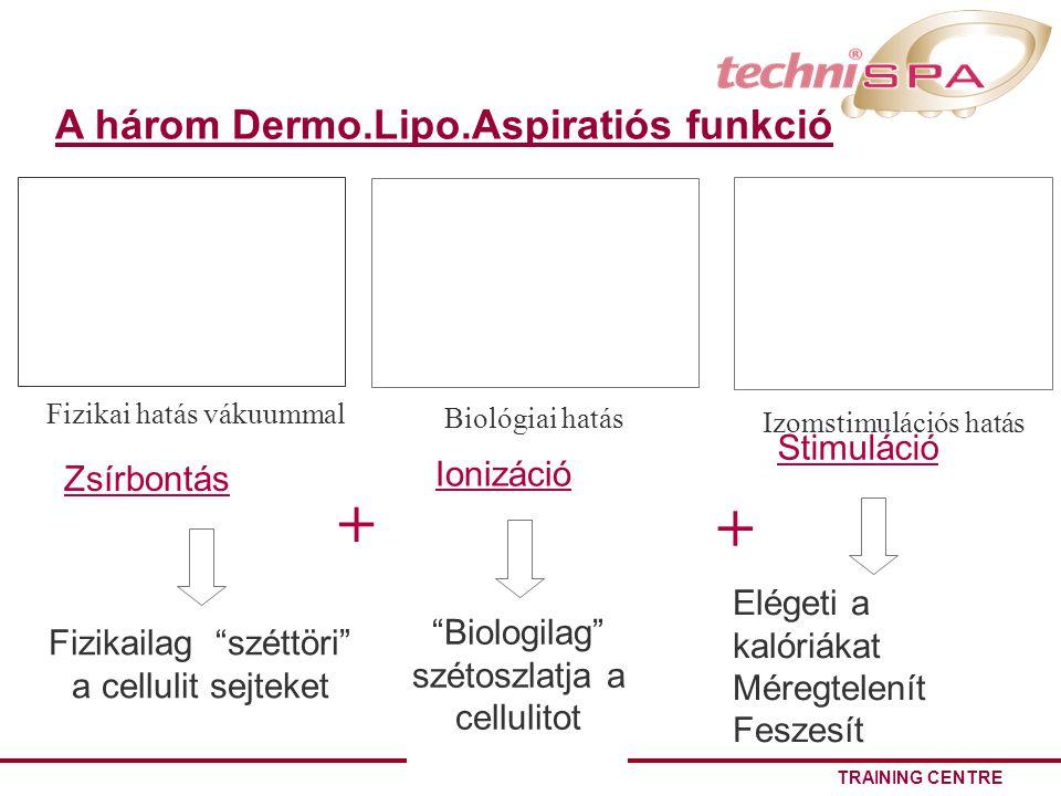 TRAINING CENTRE A három Dermo.Lipo.Aspiratiós funkció Fizikai hatás vákuummal Zsírbontás Fizikailag széttöri a cellulit sejteket Biologilag szétoszlatja a cellulitot Ionizáció Biológiai hatás Elégeti a kalóriákat Méregtelenít Feszesít Stimuláció Izomstimulációs hatás + +