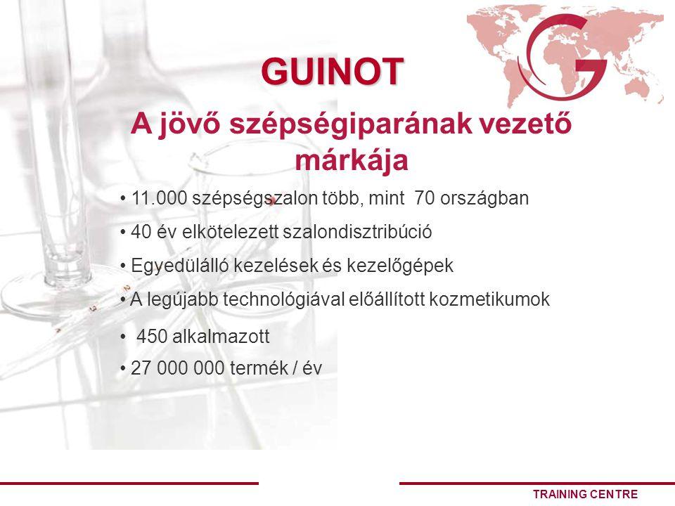 TRAINING CENTRE GUINOT 11.000 szépségszalon több, mint 70 országban 40 év elkötelezett szalondisztribúció Egyedülálló kezelések és kezelőgépek A legújabb technológiával előállított kozmetikumok A jövő szépségiparának vezető márkája 450 alkalmazott 27 000 000 termék / év