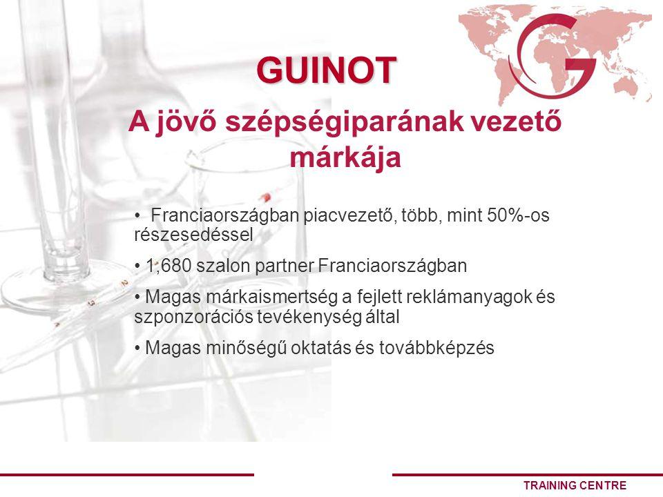 TRAINING CENTRE GUINOT Franciaországban piacvezető, több, mint 50%-os részesedéssel 1,680 szalon partner Franciaországban Magas márkaismertség a fejlett reklámanyagok és szponzorációs tevékenység által Magas minőségű oktatás és továbbképzés A jövő szépségiparának vezető márkája