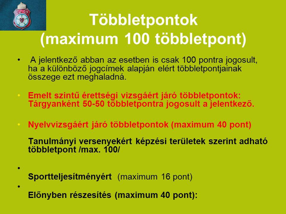 Többletpontok (maximum 100 többletpont) A jelentkező abban az esetben is csak 100 pontra jogosult, ha a különböző jogcímek alapján elért többletpontja