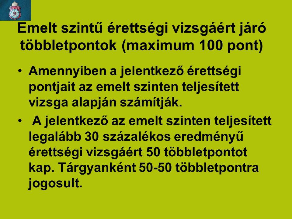 Emelt szintű érettségi vizsgáért járó többletpontok (maximum 100 pont) Amennyiben a jelentkező érettségi pontjait az emelt szinten teljesített vizsga