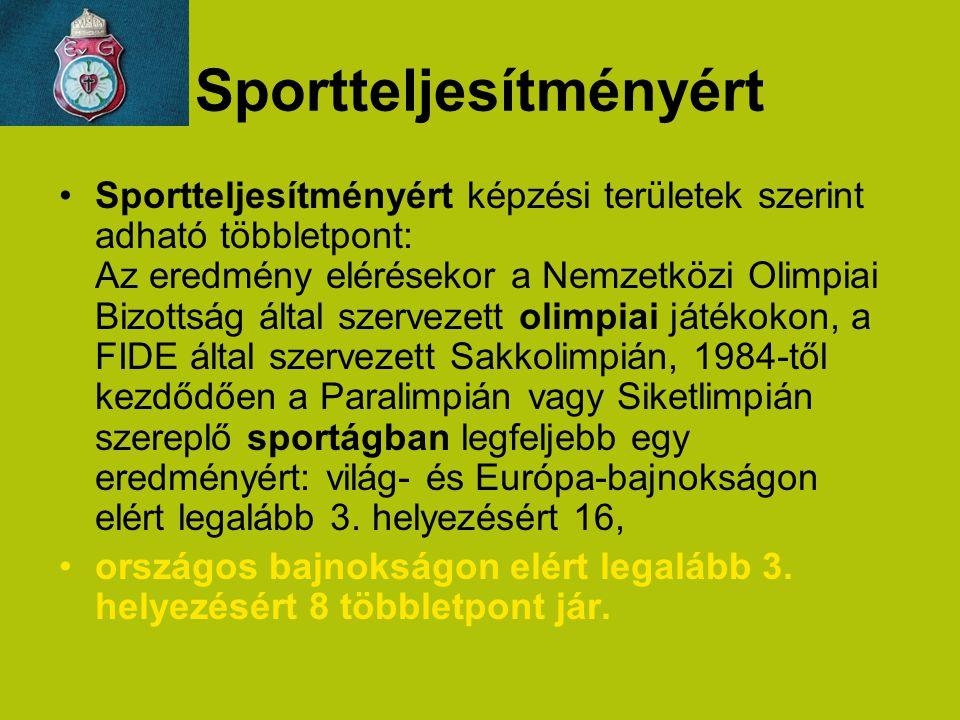 Sportteljesítményért Sportteljesítményért képzési területek szerint adható többletpont: Az eredmény elérésekor a Nemzetközi Olimpiai Bizottság által s