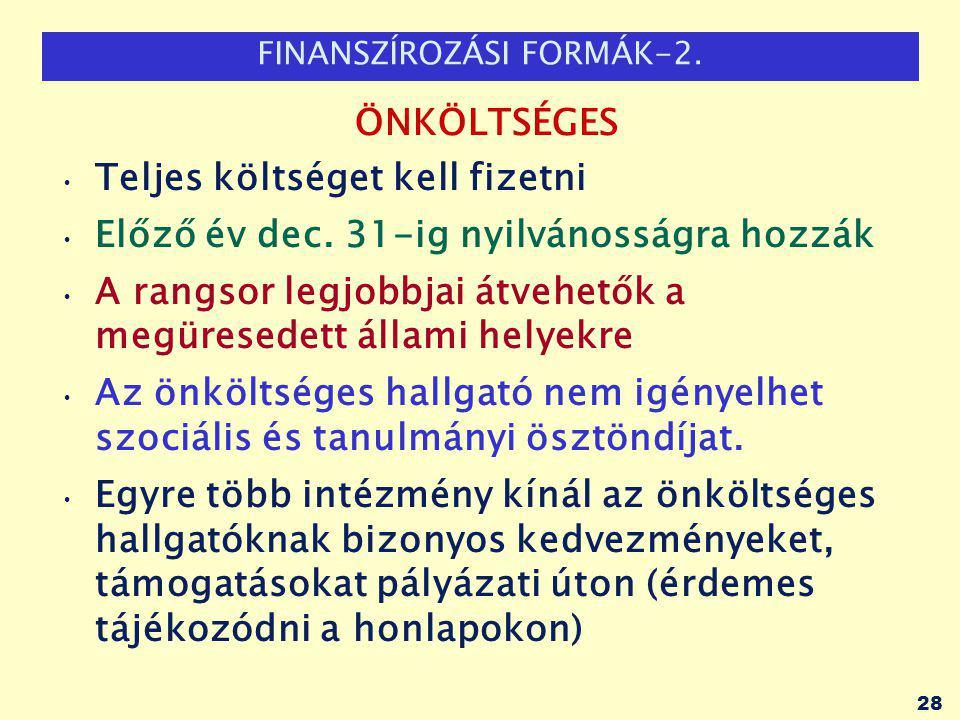 FINANSZÍROZÁSI FORMÁK-2. ÖNKÖLTSÉGES Teljes költséget kell fizetni Előző év dec.