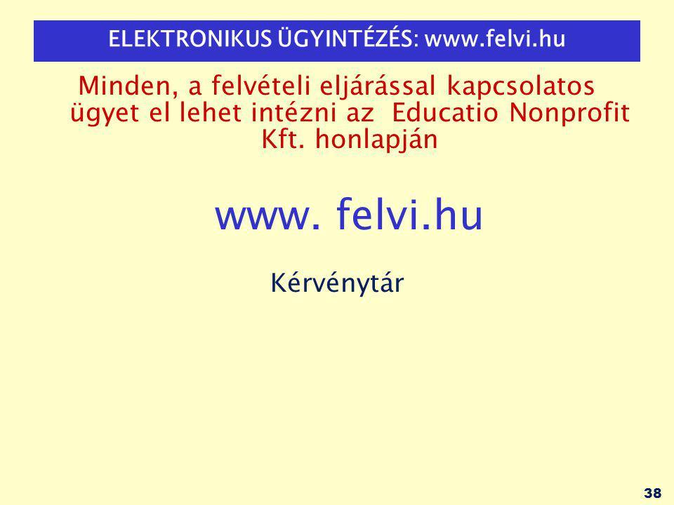 38 ELEKTRONIKUS ÜGYINTÉZÉS: www.felvi.hu Minden, a felvételi eljárással kapcsolatos ügyet el lehet intézni az Educatio Nonprofit Kft.