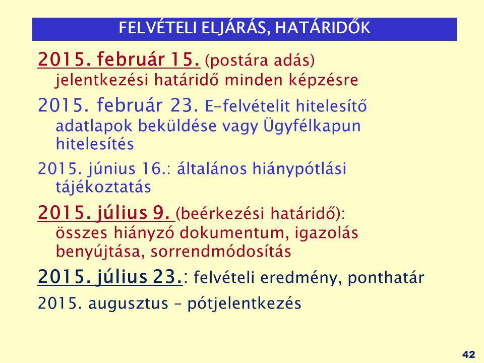 42 FELVÉTELI ELJÁRÁS, HATÁRIDŐK 2015. február 15.