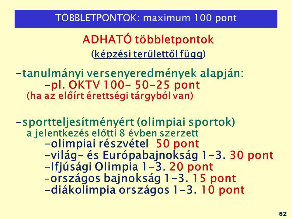 52 TÖBBLETPONTOK: maximum 100 pont ADHATÓ többletpontok (képzési területtől függ) -tanulmányi versenyeredmények alapján: -pl.