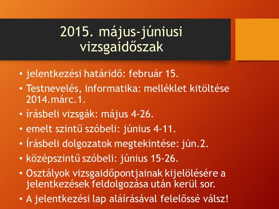 2015. május-júniusi vizsgaidőszak jelentkezési határidő: február 15. Testnevelés, informatika: melléklet kitöltése 2014.márc.1. írásbeli vizsgák: máju