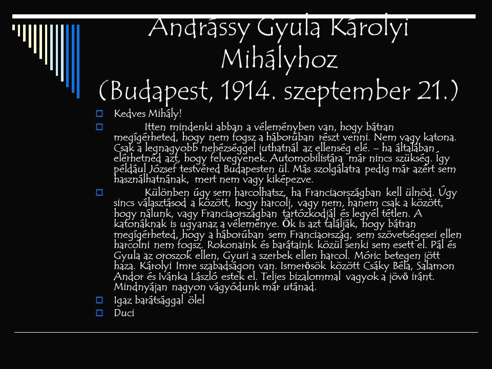 Andrássy Gyula Károlyi Mihályhoz (Budapest, 1914. szeptember 21.)  Kedves Mihály!  Itten mindenki abban a véleményben van, hogy bátran megígérheted,