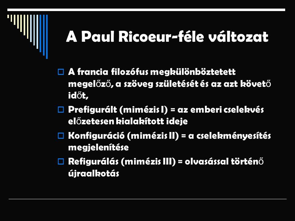 A Paul Ricoeur-féle változat  A francia filozófus megkülönböztetett megel ő z ő, a szöveg születését és az azt követ ő id ő t,  Prefigurált (mimézis