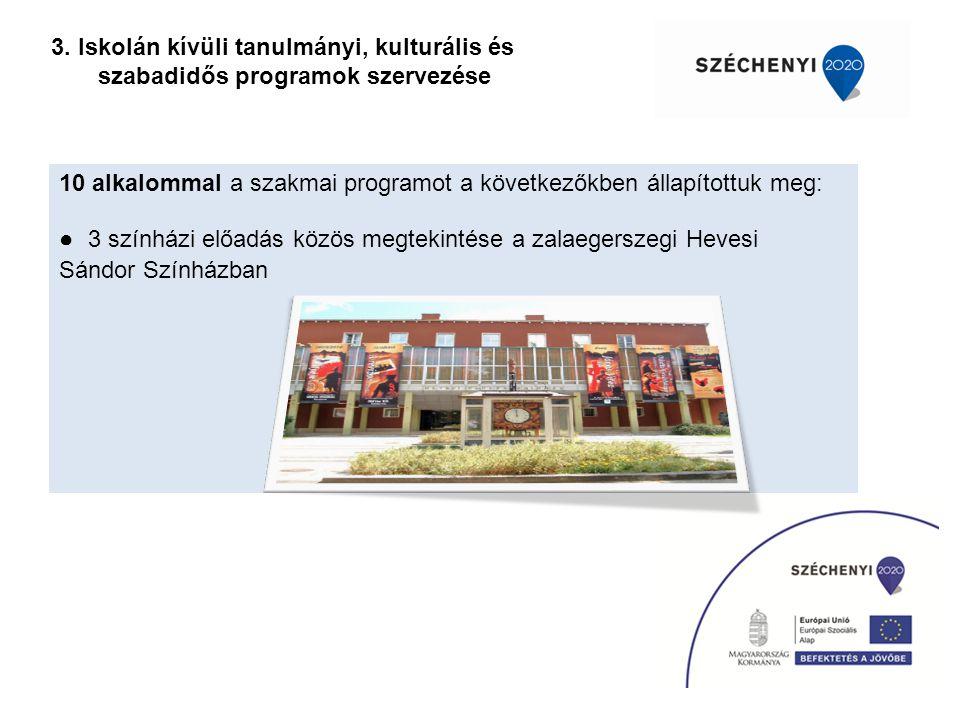 3. Iskolán kívüli tanulmányi, kulturális és szabadidős programok szervezése 10 alkalommal a szakmai programot a következőkben állapítottuk meg: ● 3 sz
