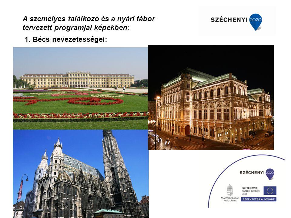A személyes találkozó és a nyári tábor tervezett programjai képekben: 1. Bécs nevezetességei: