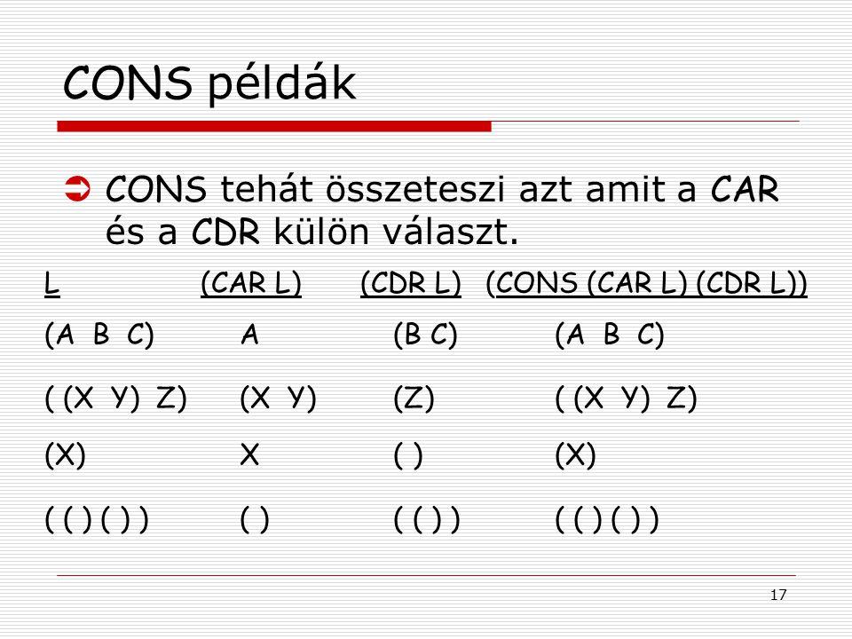 17 CONS példák L (CAR L) (CDR L) (CONS (CAR L) (CDR L)) (A B C) A (B C) (A B C) ( (X Y) Z) (X Y) (Z) ( (X Y) Z) ( ( ) ( ) ) ( ) ( ( ) ) ( ( ) ( ) ) (X) X ( ) (X)  CONS tehát összeteszi azt amit a CAR és a CDR külön választ.