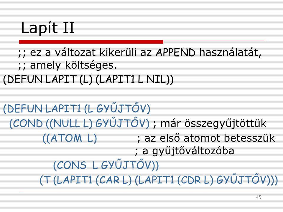 45 Lapít II ;; ez a változat kikerüli az APPEND használatát, ;; amely költséges. (DEFUN LAPIT (L) (LAPIT1 L NIL)) (DEFUN LAPIT1 (L GYŰJTŐV) (COND ((NU