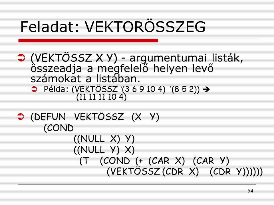 54 Feladat: VEKTORÖSSZEG  (VEKTÖSSZ X Y) - argumentumai listák, összeadja a megfelelő helyen levő számokat a listában.  Példa: (VEKTÖSSZ '(3 6 9 10