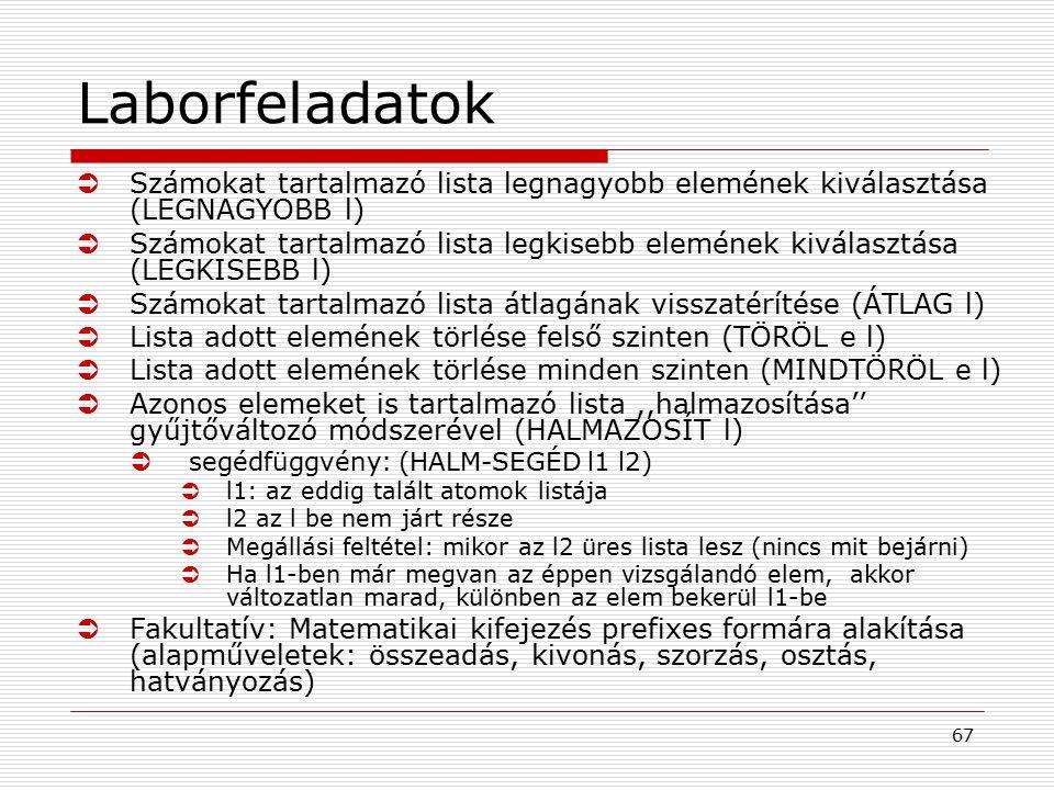 67 Laborfeladatok ÜSzámokat tartalmazó lista legnagyobb elemének kiválasztása (LEGNAGYOBB l) ÜSzámokat tartalmazó lista legkisebb elemének kiválasztás