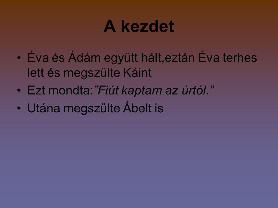 A kezdet Éva és Ádám együtt hált,eztán Éva terhes lett és megszülte Káint Ezt mondta: Fiút kaptam az úrtól. Utána megszülte Ábelt is