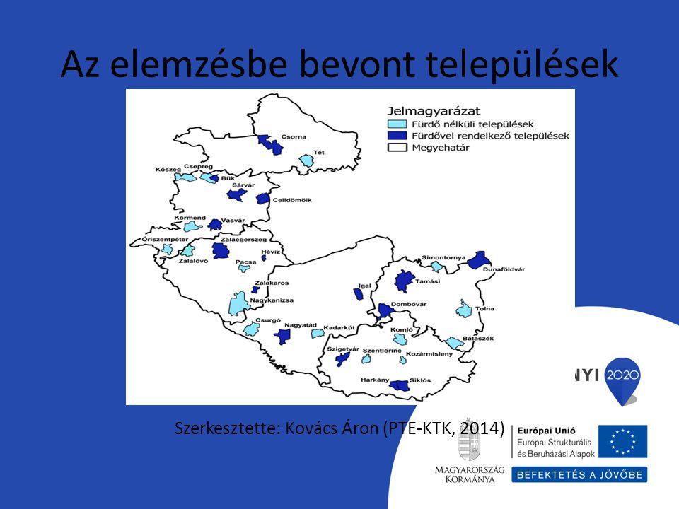 Az elemzésbe bevont települések Szerkesztette: Kovács Áron (PTE-KTK, 2014)