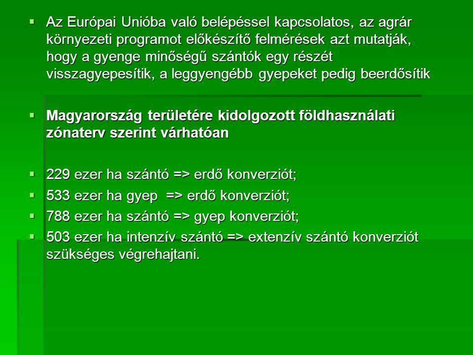  Az Európai Unióba való belépéssel kapcsolatos, az agrár környezeti programot előkészítő felmérések azt mutatják, hogy a gyenge minőségű szántók egy részét visszagyepesítik, a leggyengébb gyepeket pedig beerdősítik  Magyarország területére kidolgozott földhasználati zónaterv szerint várhatóan  229 ezer ha szántó => erdő konverziót;  533 ezer ha gyep => erdő konverziót;  788 ezer ha szántó => gyep konverziót;  503 ezer ha intenzív szántó => extenzív szántó konverziót szükséges végrehajtani.
