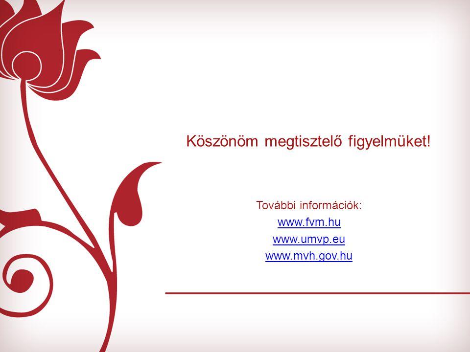 Köszönöm megtisztelő figyelmüket! További információk: www.fvm.hu www.umvp.eu www.mvh.gov.hu