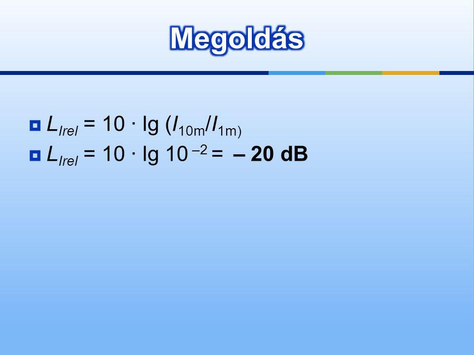  L Irel = 10 · lg (I 10m /I 1m)  L Irel = 10 · lg 10 –2 = – 20 dB