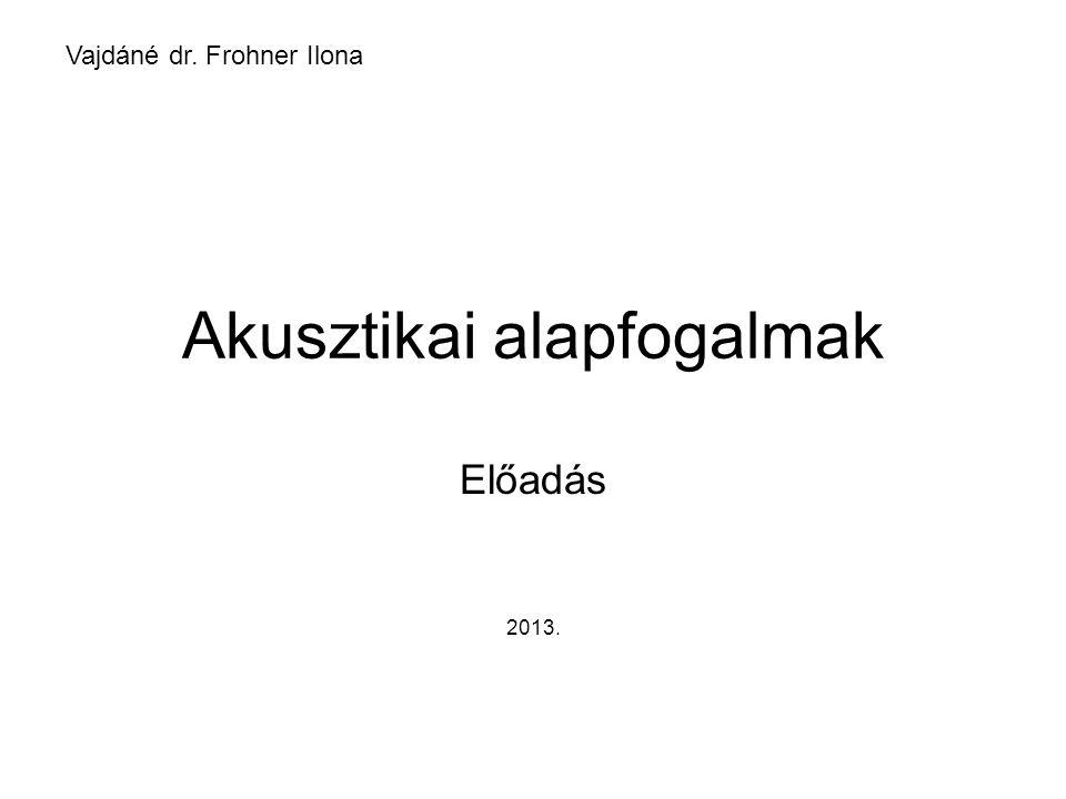 Akusztikai alapfogalmak Előadás 2013. Vajdáné dr. Frohner Ilona