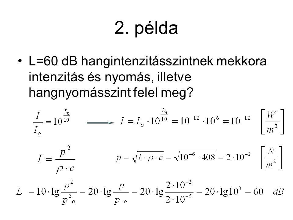 2. példa L=60 dB hangintenzitásszintnek mekkora intenzitás és nyomás, illetve hangnyomásszint felel meg?
