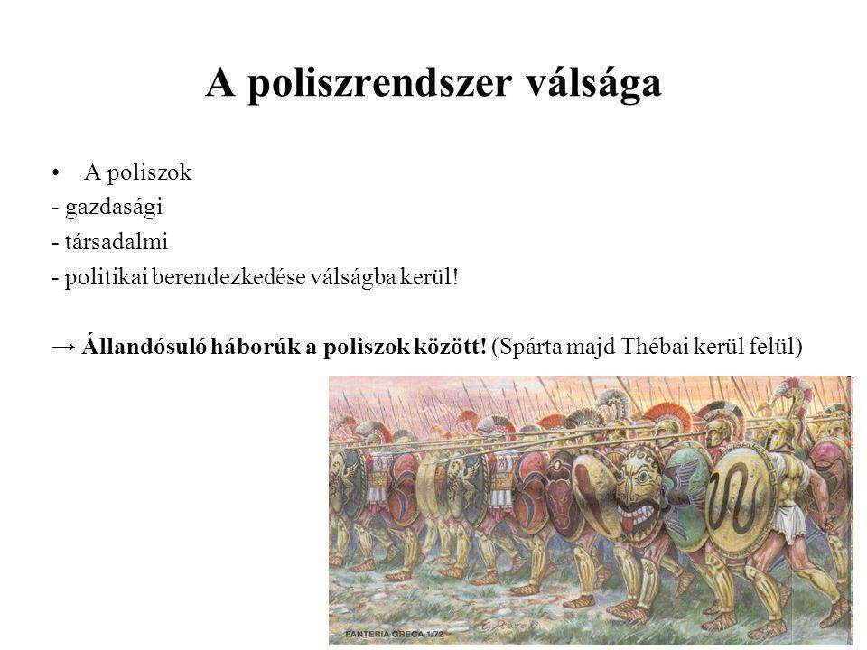 A poliszrendszer válsága A poliszok - gazdasági - társadalmi - politikai berendezkedése válságba kerül! → Állandósuló háborúk a poliszok között! (Spár