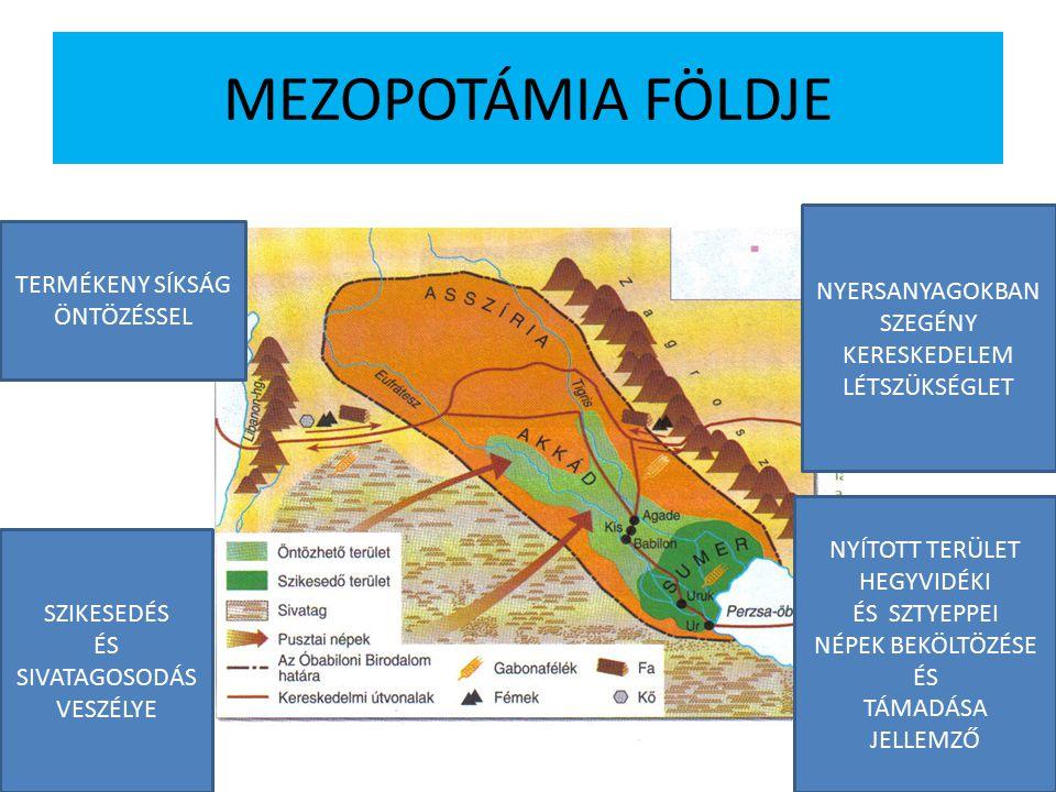 MEZOPOTÁMIA FÖLDJE TERMÉKENY SÍKSÁG ÖNTÖZÉSSEL SZIKESEDÉS ÉS SIVATAGOSODÁS VESZÉLYE NYERSANYAGOKBAN SZEGÉNY KERESKEDELEM LÉTSZÜKSÉGLET NYÍTOTT TERÜLET