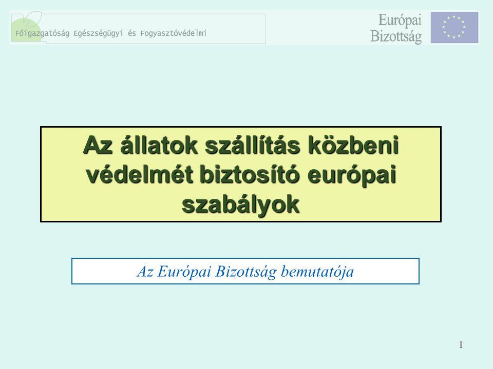 1 Az állatok szállítás közbeni védelmét biztosító európai szabályok Az Európai Bizottság bemutatója