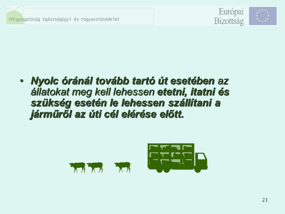 21 Nyolc óránál tovább tartó út esetében az állatokat meg kell lehessen etetni, itatni és szükség esetén le lehessen szállítani a járműről az úti cél