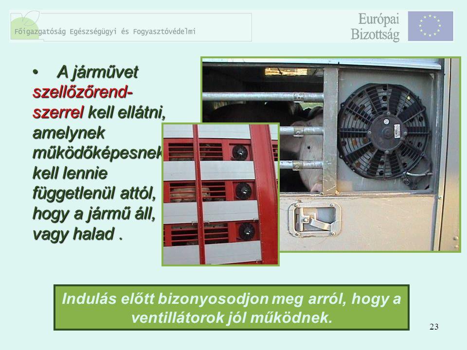 23 A járművet szellőzőrend- szerrel kell ellátni, amelynek működőképesnek kell lennie függetlenül attól, hogy a jármű áll, vagy halad. A járművet szel