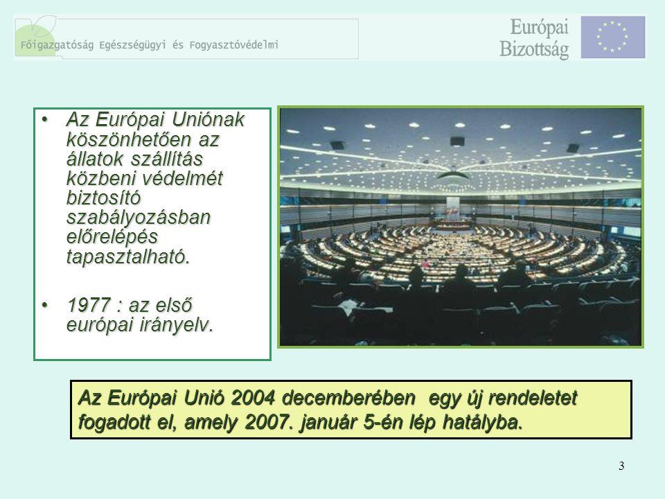 3 Az Európai Uniónak köszönhetően az állatok szállítás közbeni védelmét biztosító szabályozásban előrelépés tapasztalható.Az Európai Uniónak köszönhet