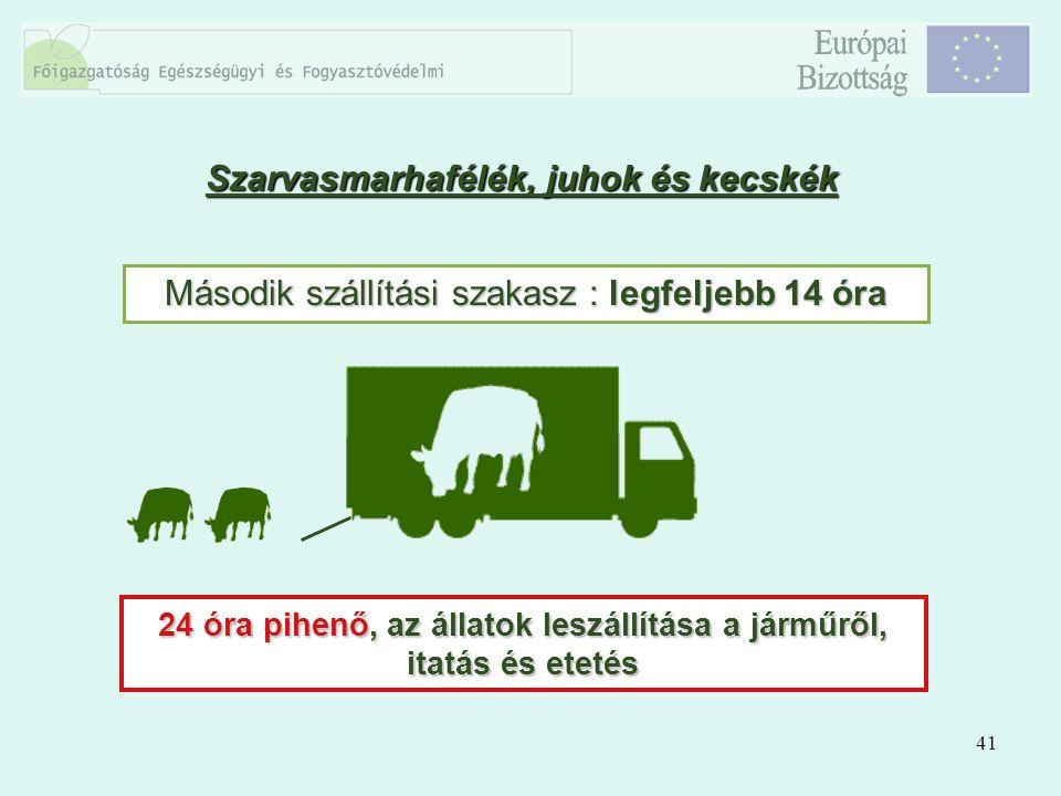 41 Második szállítási szakasz : legfeljebb 14 óra 24 óra pihenő, az állatok leszállítása a járműről, itatás és etetés Szarvasmarhafélék, juhok és kecs