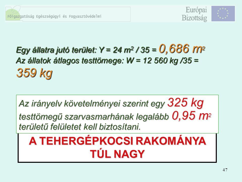 47 A TEHERGÉPKOCSI RAKOMÁNYA TÚL NAGY Az irányelv követelményei szerint egy 325 kg testtömegű szarvasmarhának legalább 0,95 m 2 területű felületet kel