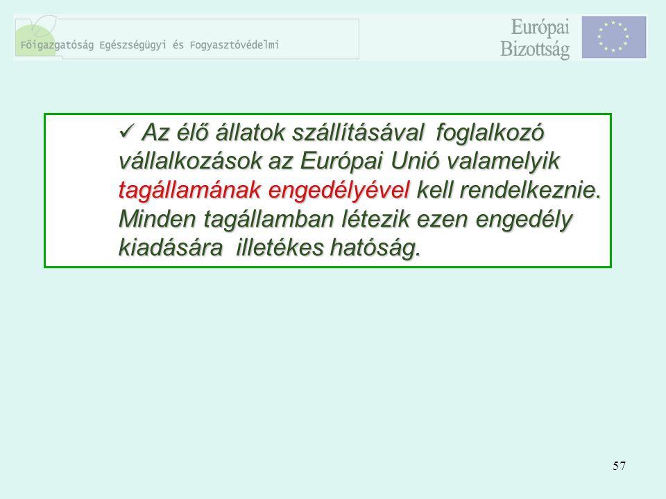 57 Az élő állatok szállításával foglalkozó vállalkozások az Európai Unió valamelyik tagállamának engedélyével kell rendelkeznie. Minden tagállamban lé