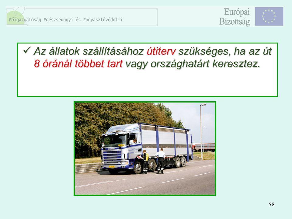 58 Az állatok szállításához útiterv szükséges, ha az út 8 óránál többet tart vagy országhatárt keresztez. Az állatok szállításához útiterv szükséges,