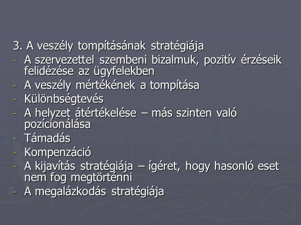 3. A veszély tompításának stratégiája - A szervezettel szembeni bizalmuk, pozitív érzéseik felidézése az ügyfelekben - A veszély mértékének a tompítás