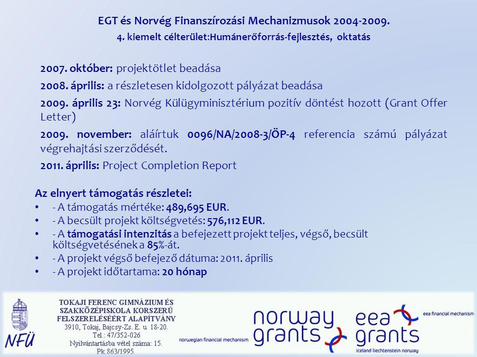 EGT és Norvég Finanszírozási Mechanizmusok 2004-2009. 4. kiemelt célterület:Humánerőforrás-fejlesztés, oktatás 2007. október: projektötlet beadása 200